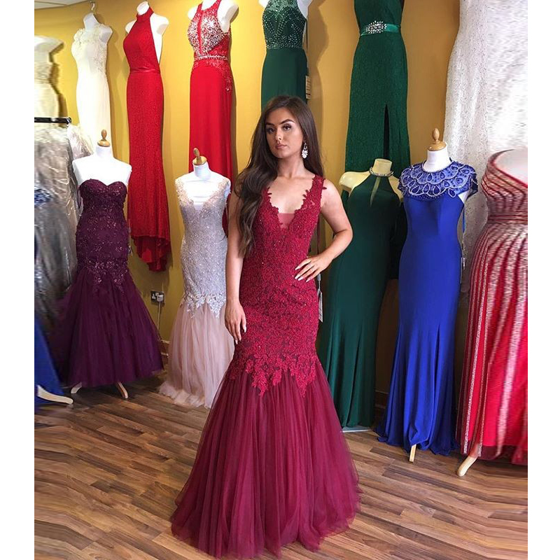 Burgundy Plunging V Neck Sleeveless Lace Mermaid Prom Dress,Formal ...