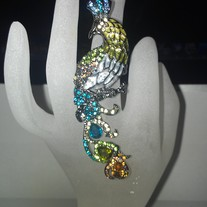 Peacock Rhinestone Finger Ring