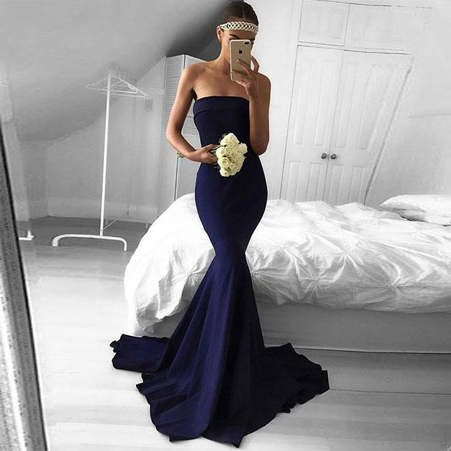 Gorgeous Navy Blue Strapless Mermaid Prom Dress,Satin Formal Evening ...