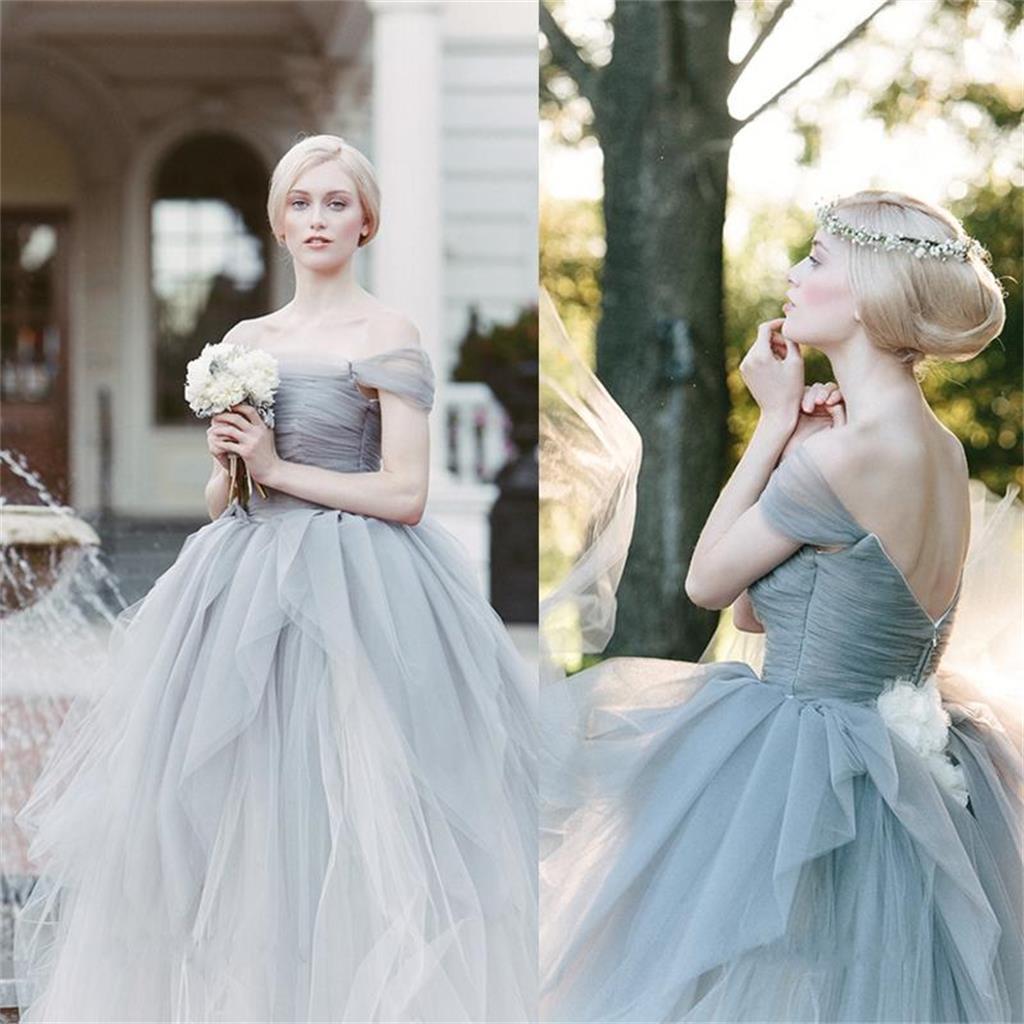 2017 Charming Wedding Dress, Off Shoulder Tulle V Back Prom Dresses ...