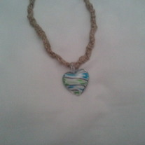 Hand Braided Hemp Necklace with Glass Heart Pendant
