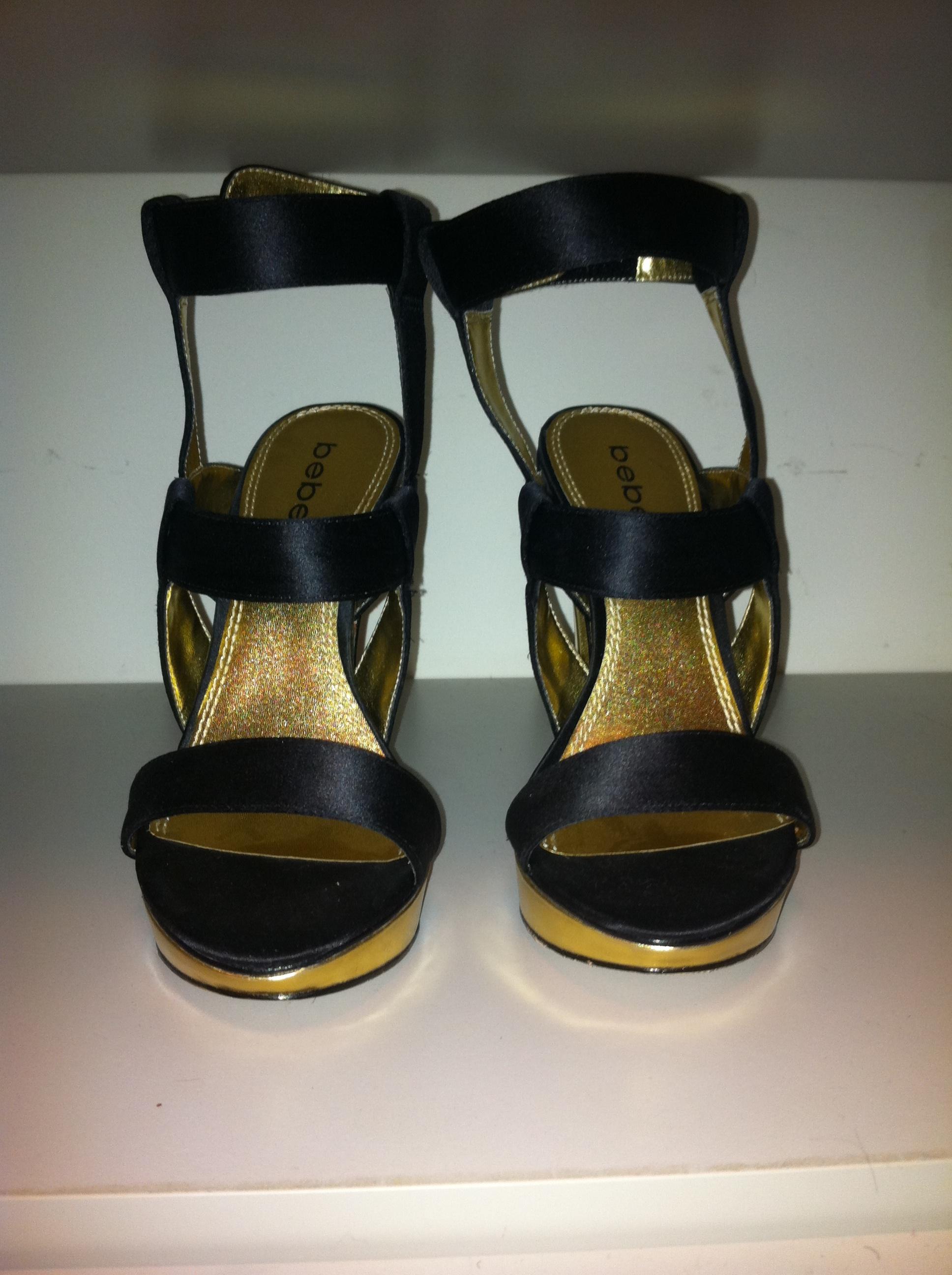 Bebe Black Gold Strap Up Heels Size