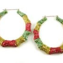 Med/Multi-Color Bamboo Hoop Earrings