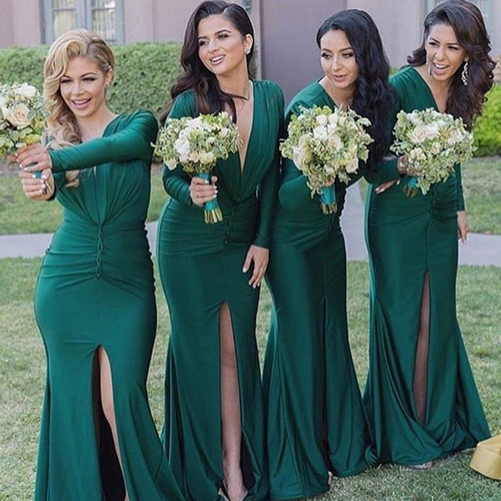 Long Sleeve Emerged Green Bridesmaid Dresses, Modest Long Bridesmaid ...
