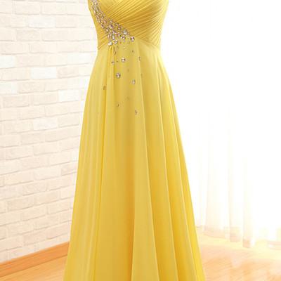 Pleated beading sleeveless one shoulder yellow floor length chiffon a line  court train long prom dress