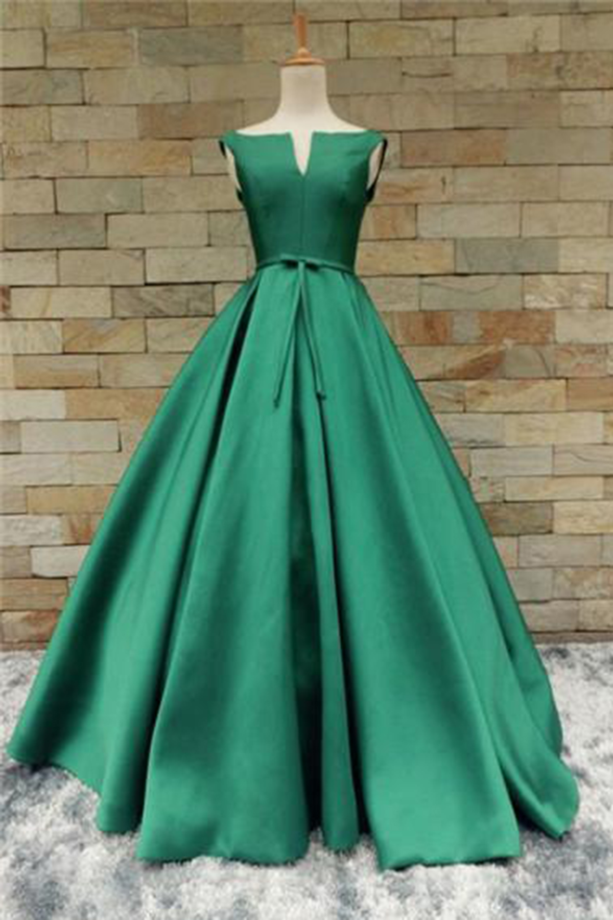 Green satin long V neckline senior prom dress with bowknot ...