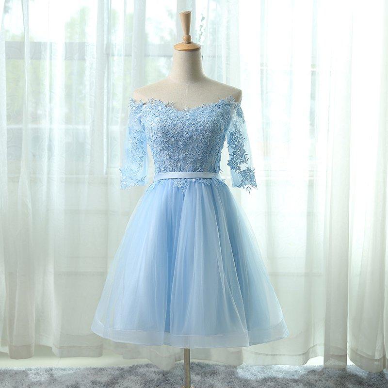 2018 Light Blue Short Prom Dresses Blue Homecoming Dresses Teen