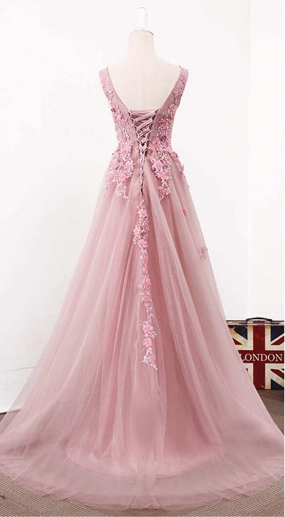 Blush Pink V Neckline Two Straps Lace Evening Prom Dresses, 2018 ...