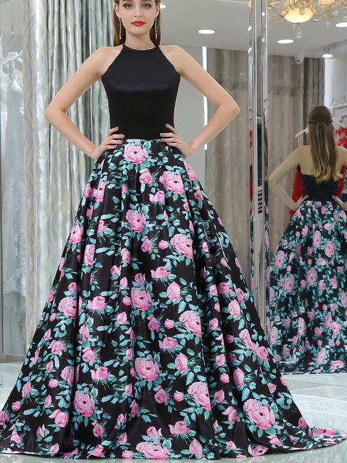 Sexy Halter Black Long Floral Prom Dress Wedding Dresses Partydress