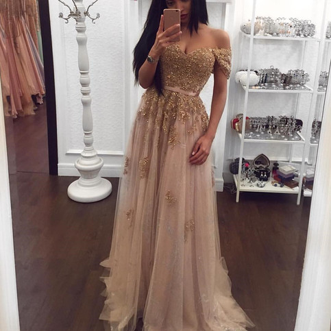 Champagne color prom dresses sexy beading prom gown with for Champagne colored wedding dresses with sleeves