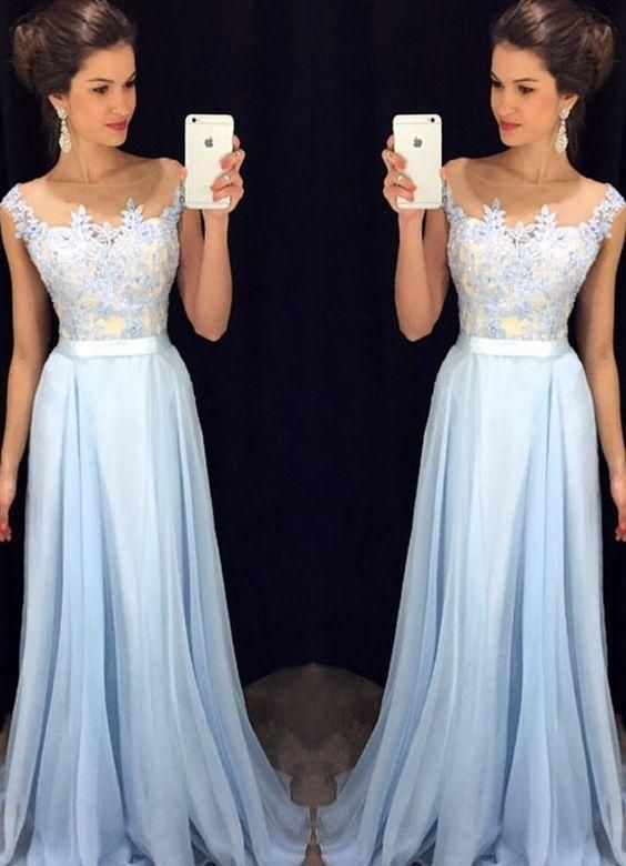 Square Neck Sky Blue Long Chiffon Prom Dresses with Applique,HS204 ...