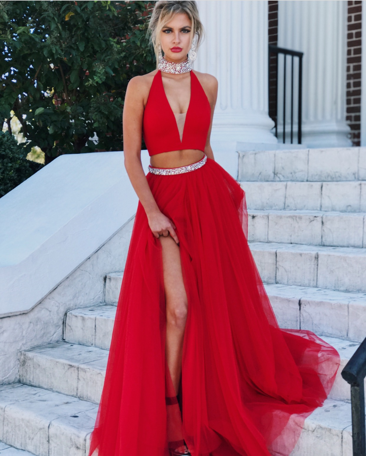 two piece prom dress,high neck prom dress,tulle prom dress,red ...
