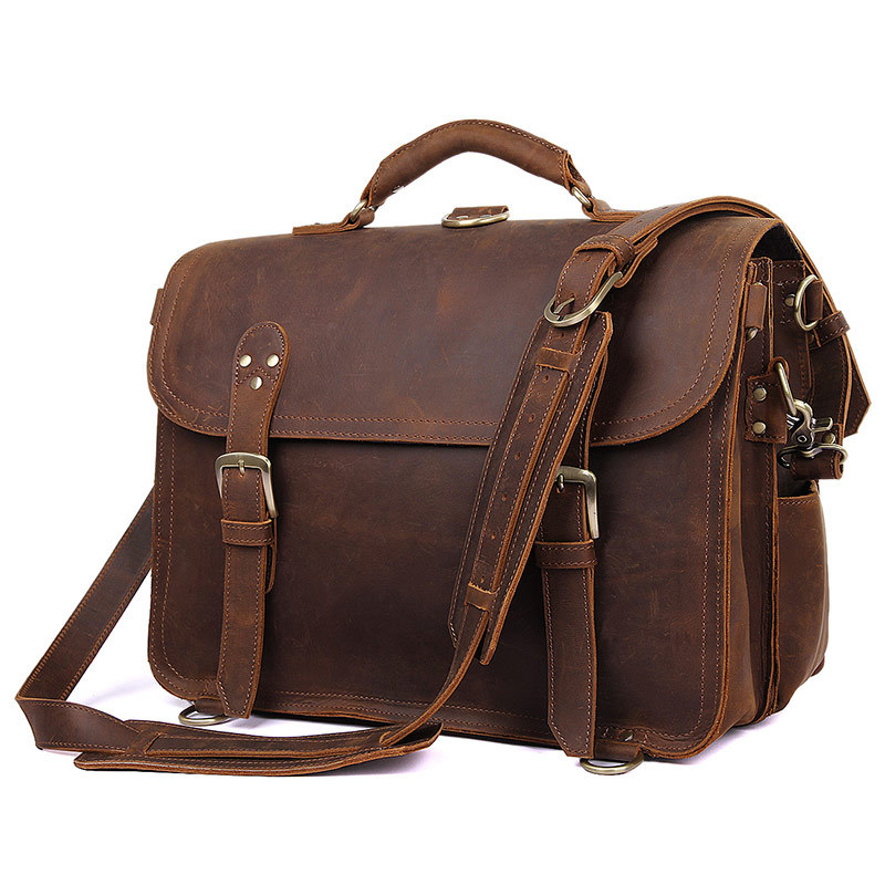 Men's Handmade Vintage Leather Briefcase / Leather Satchel / 15 ...