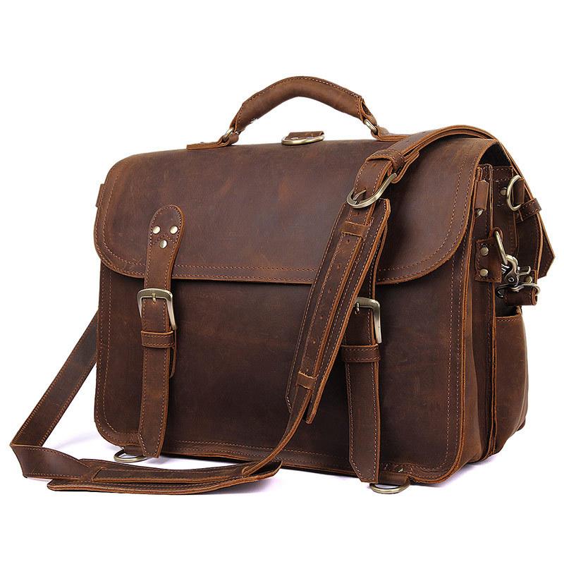 Handmade Leather Shoulder Messenger Bacpack Bag for Laptop Briefcase Satchel Men