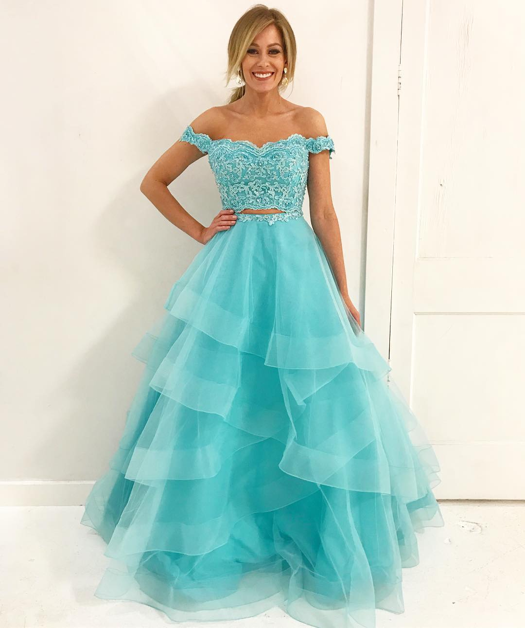 Off Shoulder Two piece Blue Long Prom Dress · dreamdressy · Online ...