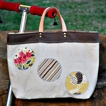 Handbag - Natural Linen with Leather Handles