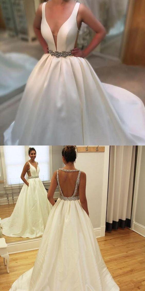 Deep V Neck White Satin Ball Gowns Wedding Dresses,401 ...