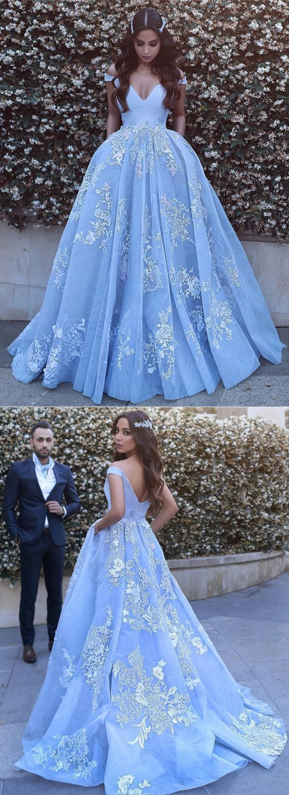 elegant light blue prom dress off shoulder ball gowns with lace ...