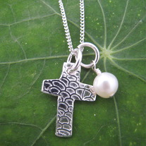 Cross Charm Necklace with pearl