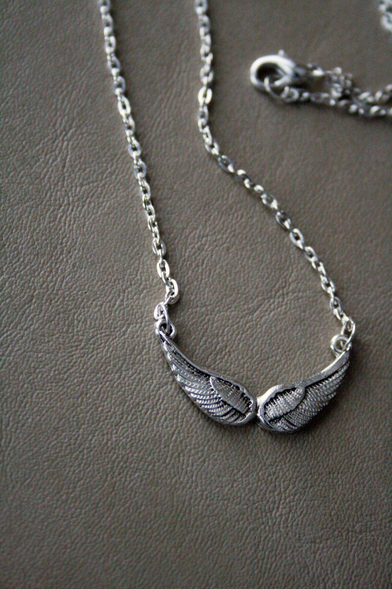 silver small wing necklace 183 blk and noir jewelry