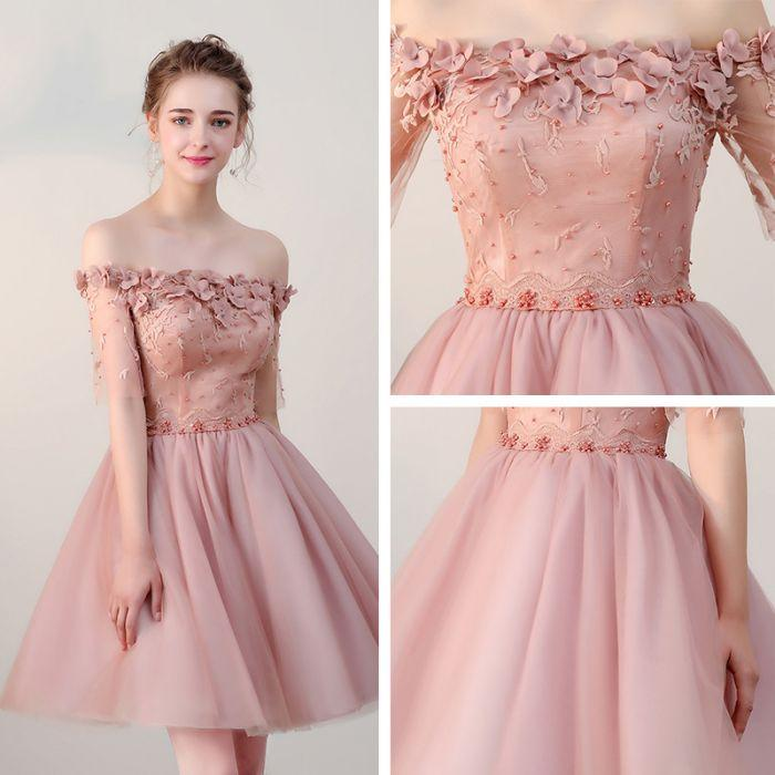 chic homecoming dresses short pearl pink off the shoulder tulle