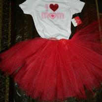 I LOVE MOM Baby Tutu Skirt and Onesie T Shirt Set