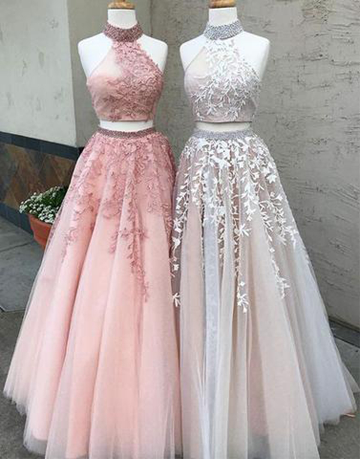 New high neckline long lace formal prom dress, long two pieces ...