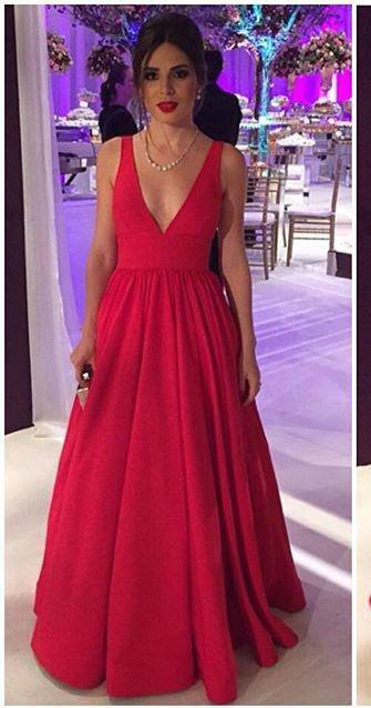 A line V-neckline Evening Dress, Open Back Prom Dress,Red Wedding ...