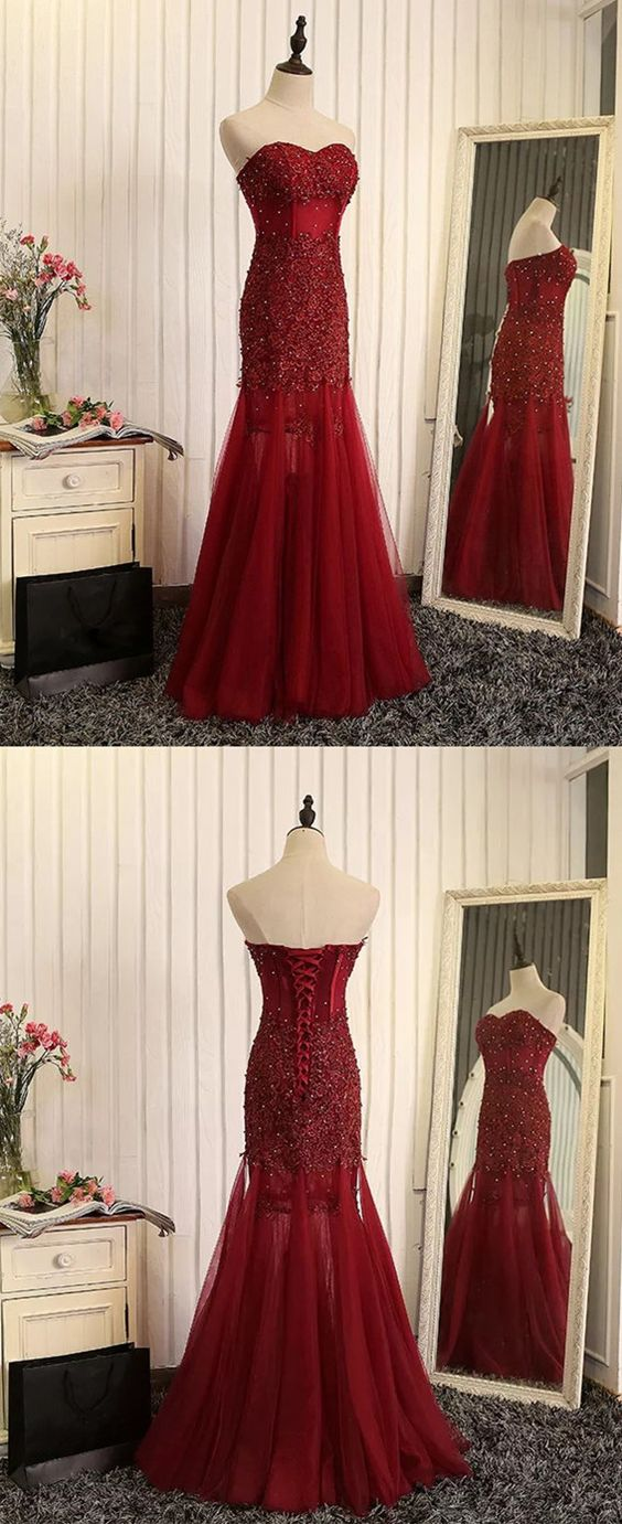 2018 new fashions Unique burgundy lace prom dresses,sweetheart prom ...