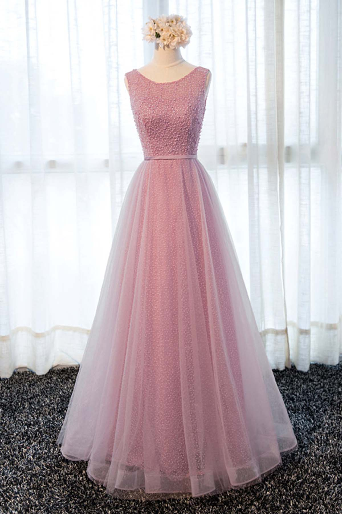 Pink tulle long lace halter sweet 16 prom dress, long spring party ...