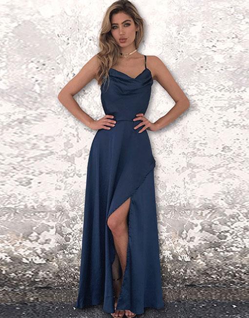 Stunning Navy Blue Prom Dressopen Back Formal Dress2018 Prom Dress