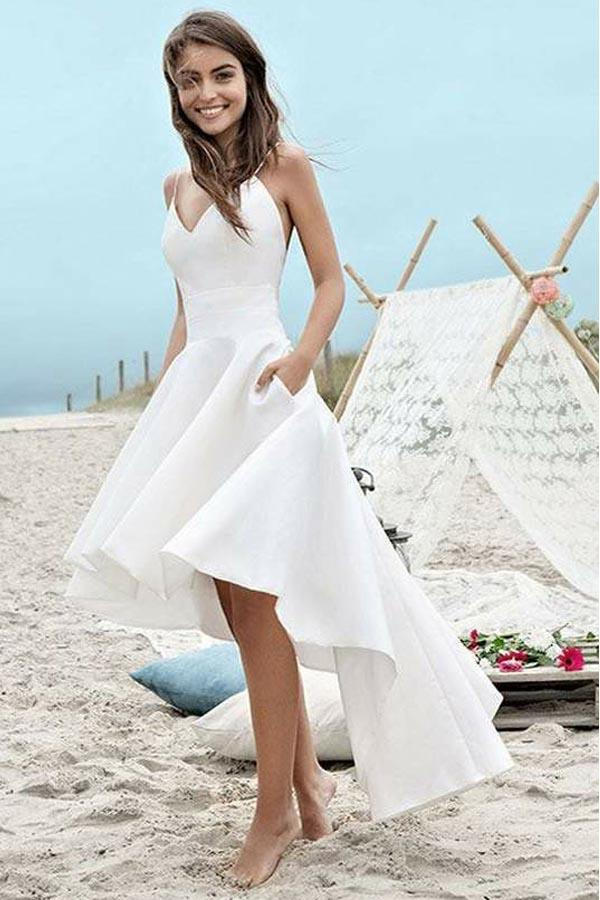Simple White A-Line High Low Short Prom Dress,White Party Dress ...