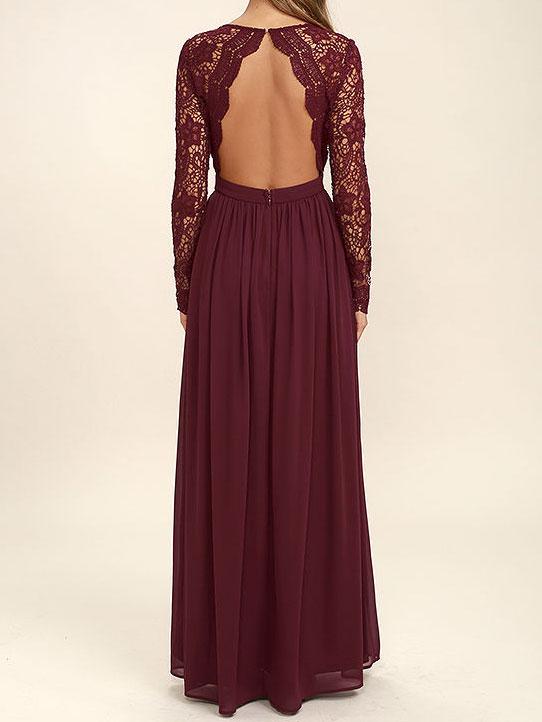Burgundey Bridesmaid Dresses Long Sleeves