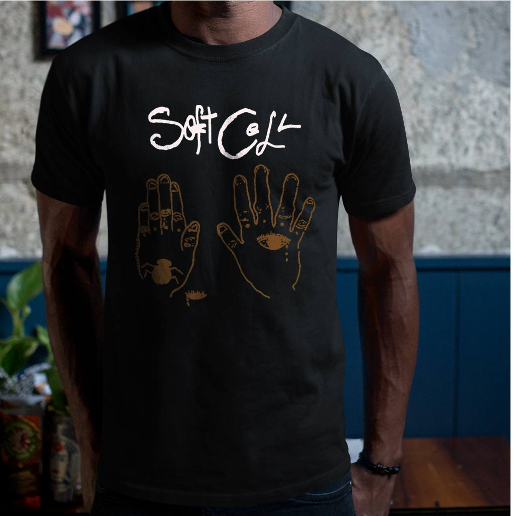 Soft cell band t shirt screen print black vintage tees t for Vintage screen print t shirts