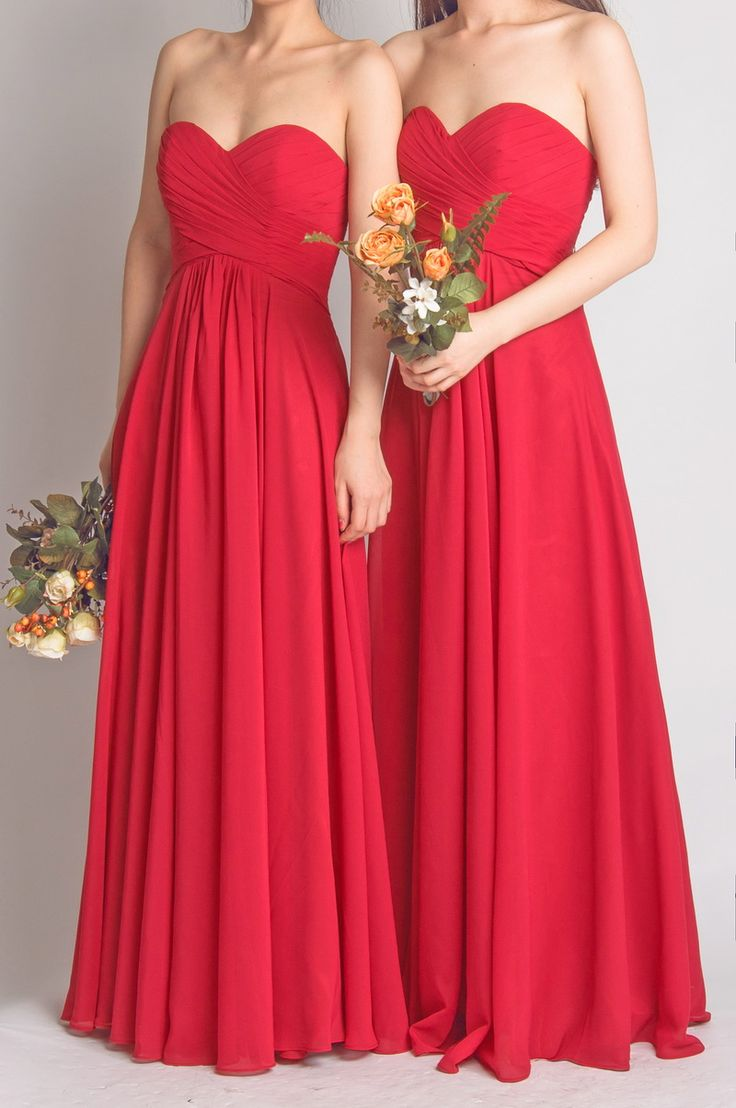 Red Bridesmaid Dress,A line Red Chiffon Bridesmaid Gown · Sanct ...