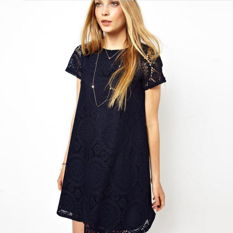 Navy Blue Lace Crew Short Sleeves Plus Size Mini Dress