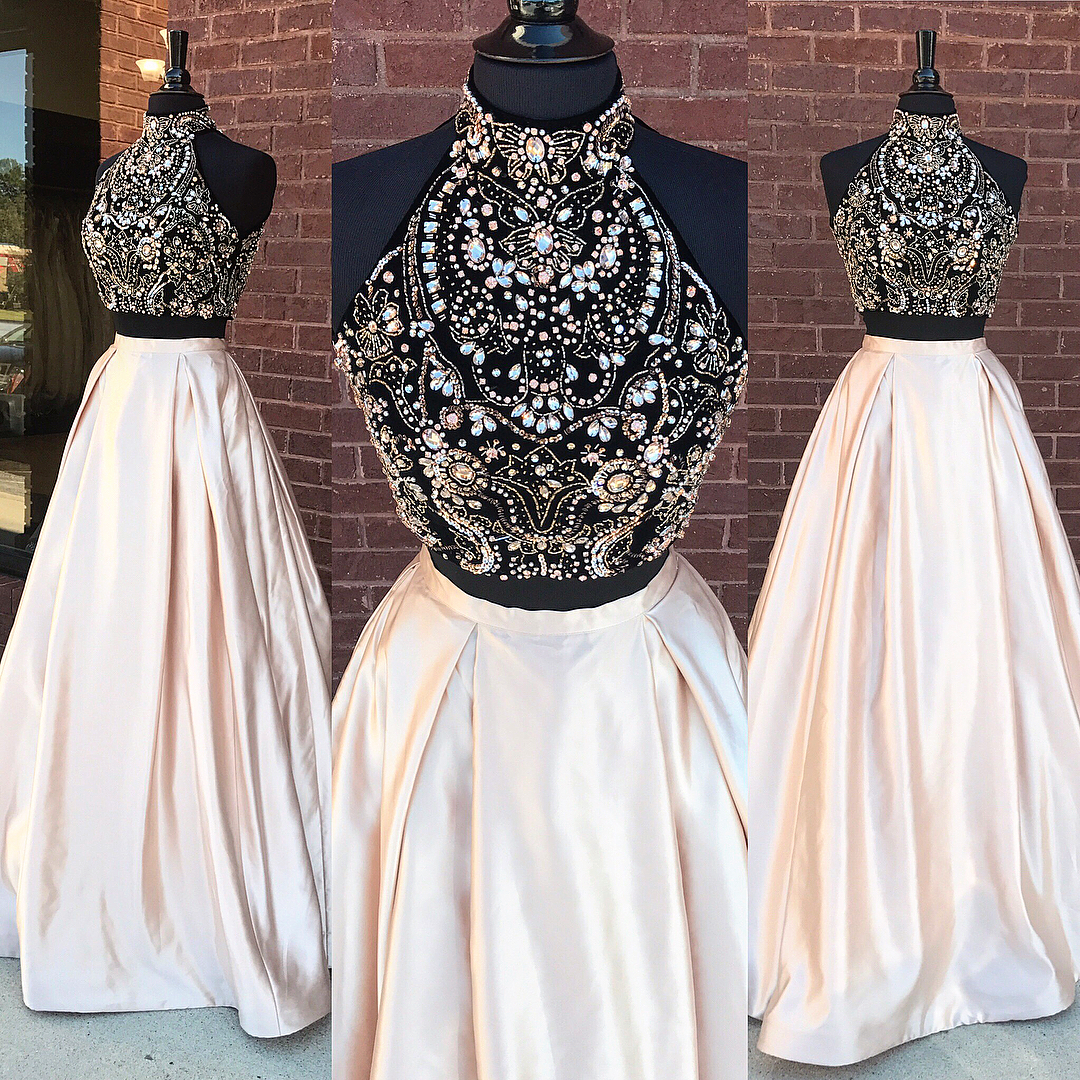 New Arrival Beadings Prom Dress,2 Pieces Prom Dresses Long 2 Piece ...