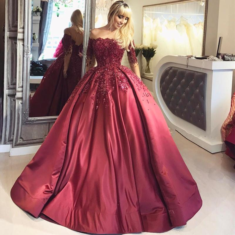 Glamorous Ball Gown Off-The-Shoulder Long Sleeves Burgundy Prom ...
