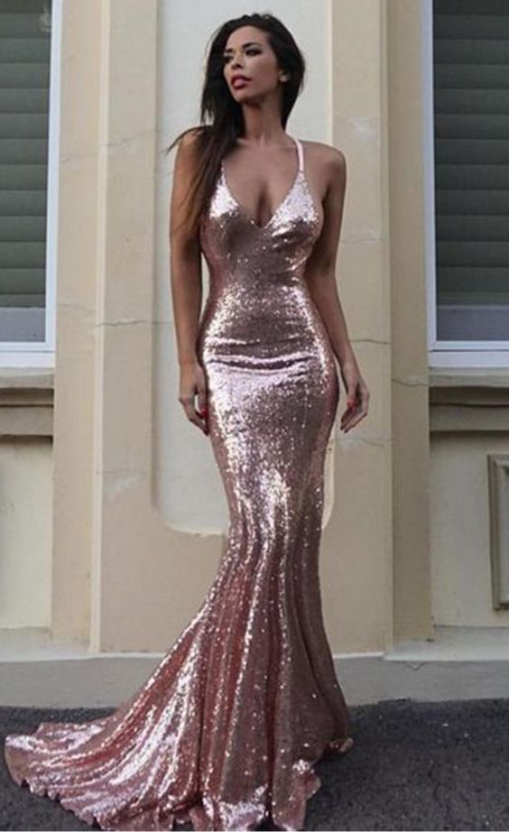 Pink sequin prom dresses