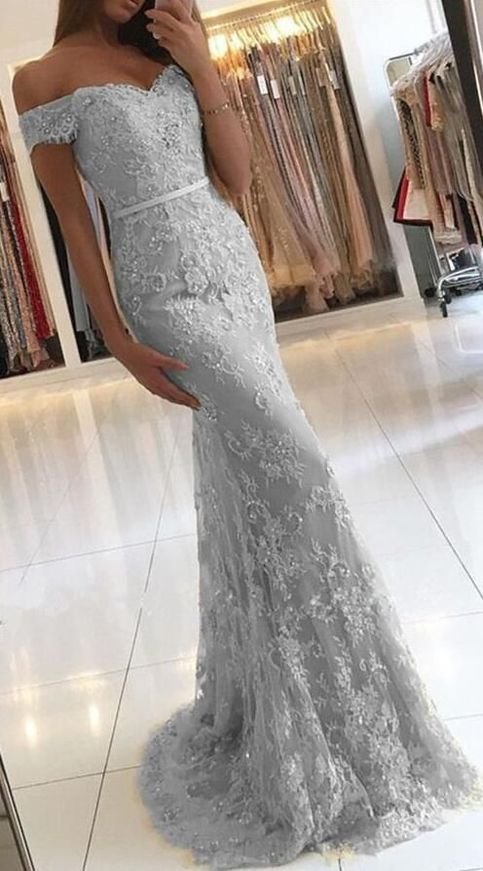 Mermaid Silver Prom Dress 2018,Prom Dresses,Evening Gown ...