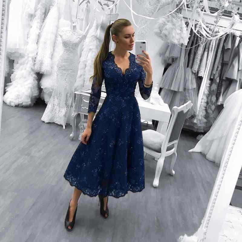 2018 Prom Dresses V Neck Long Sleeves Royal Blue Lace Appliques ...