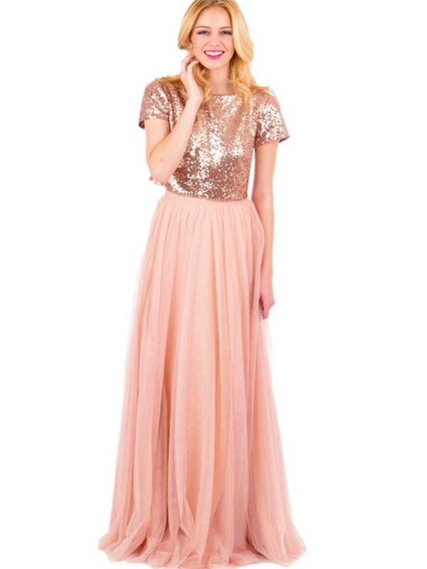 Two piece long bridesmaid dressrose gold bridesmaid dress modsele two piece long bridesmaid dressrose gold bridesmaid dress junglespirit Image collections