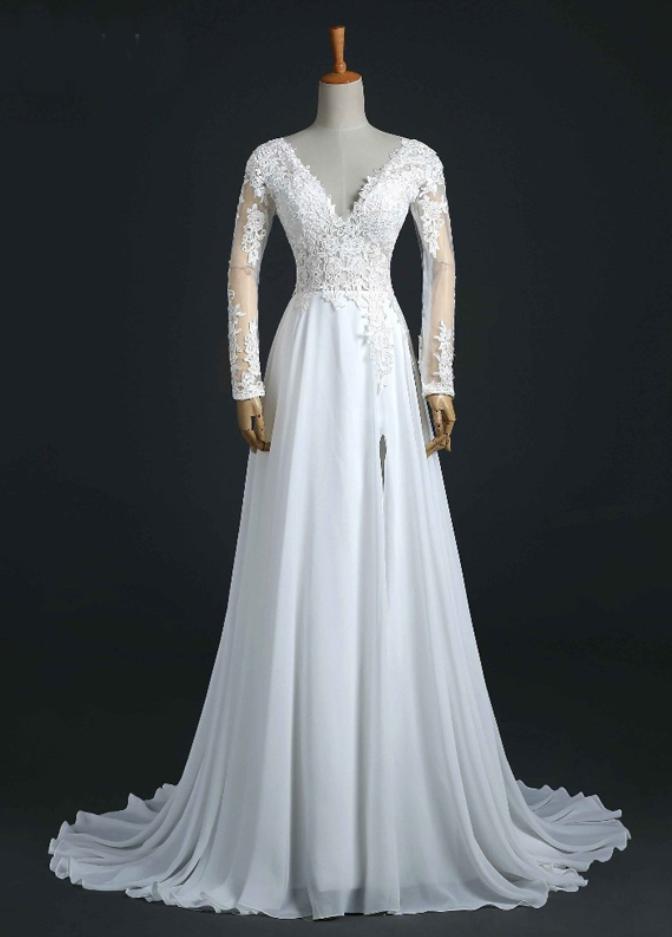 A Line Long Chiffon Beach Lace Wedding Dress,Long Chiffon Wedding ...