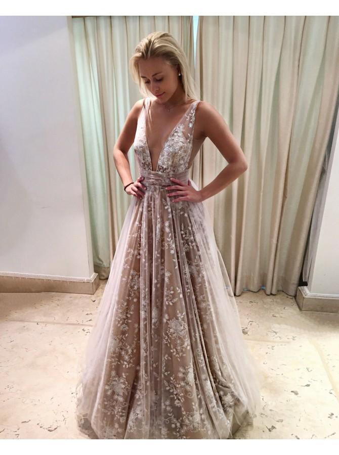 2018 hot evening dress aline deep vneck long backless