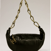 Chanel Black Lambskin Chain Small Hobo Bag