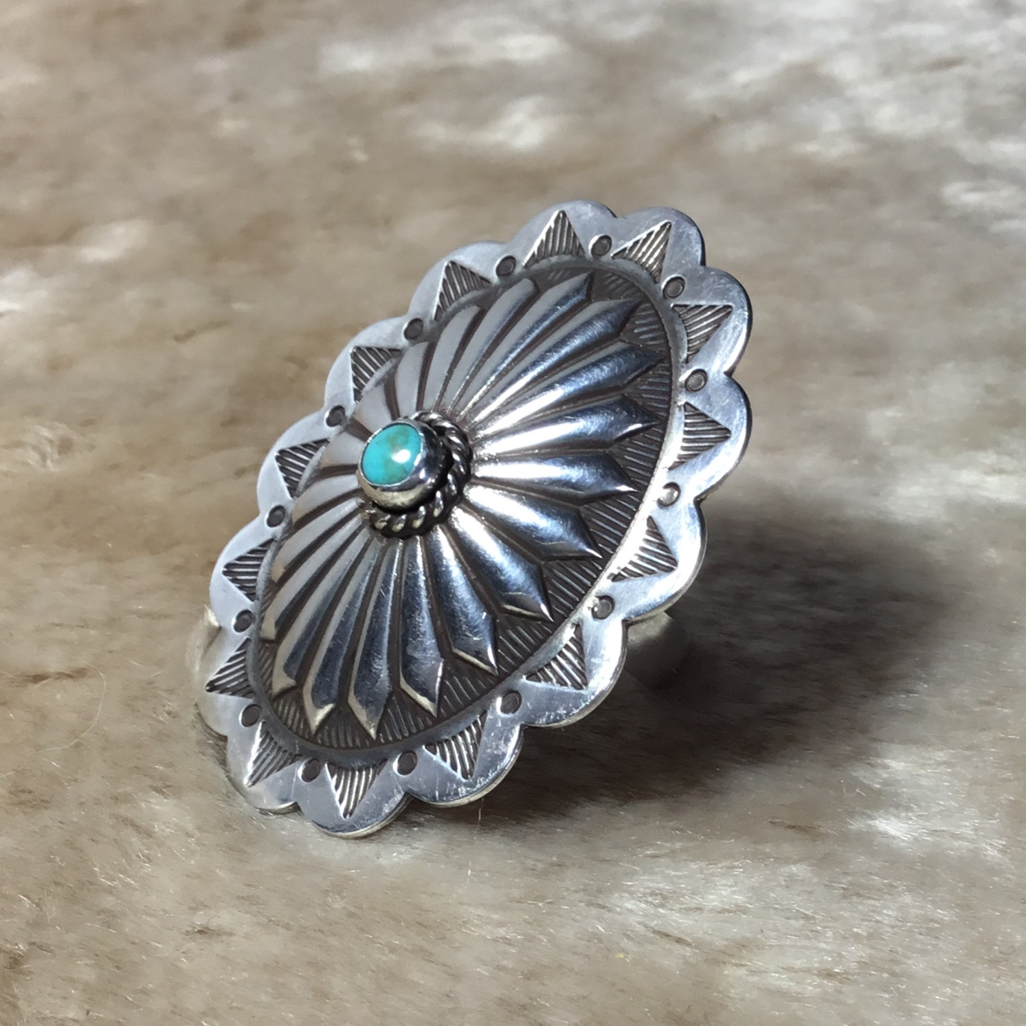 Turquoise Concho Ring From RISH JEWELRY