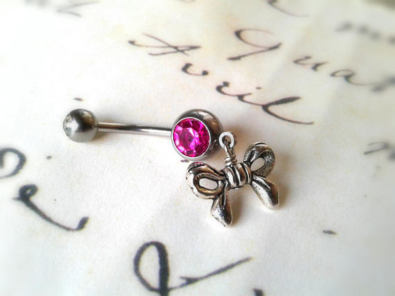 Hypo Allergenic Silver Bow Belly Button Ring Pink Swarovski Crystal Belly Ring Bow Navel Ring Bow Bar Bell Valentine S Day Gift For Her From
