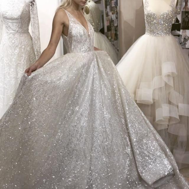 Sparkly V Neck Sequined Ivory Wedding Dresses Bridal Gowns ...