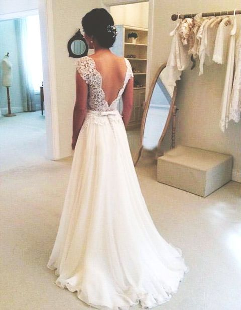 A-line Round Neckline Chiffon Lace Long Wedding Dresses, Wedding ...