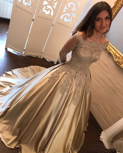 Off Shoulder Long Sleeve Gold A Line Sparkly Evening Prom